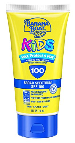 Banana Boat Sunscreen Kids MAX Protect & Play Broad Spectrum Sun Care Sunscreen Lotion – SPF 100, 4 Ounce