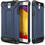 Galaxy Note 3 Case,Wollony Rugged Hybrid Dual Layer Hard Shell Armor Protective Back Case Shockproof Cover for Galaxy Note 3 Case - Slim Fit - Heavy Duty - Impact Resistant Bumper(Deep Blue)