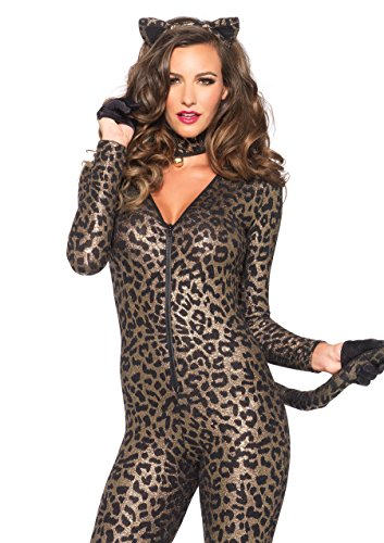 Cheetah Jumpsuit Costume (Leg Avenue Women's 3 Piece Sex Kitten Cat Suit Costume, Gold,)