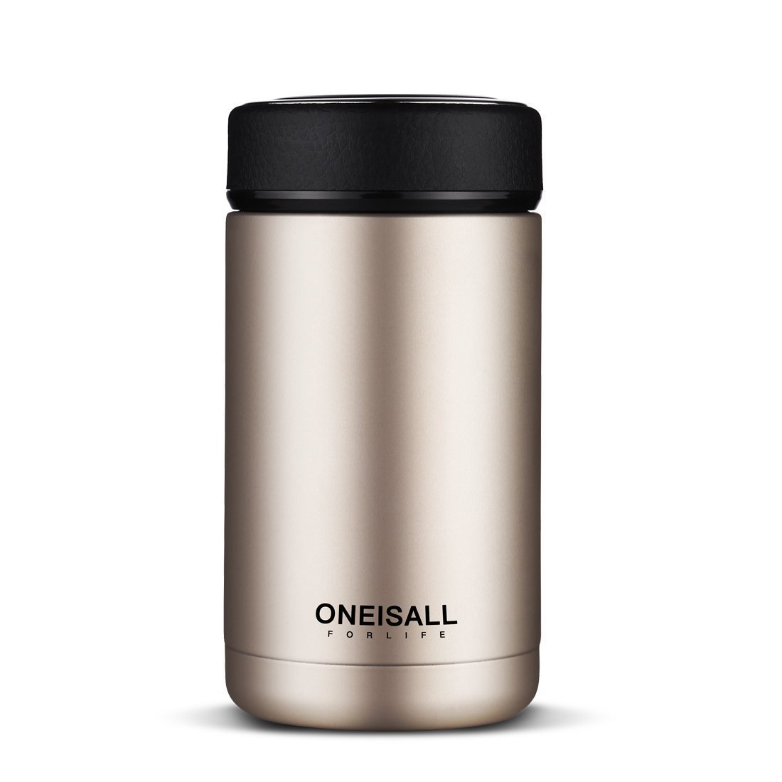 ONEISALL GYBL114 Thermos Cup for Men Insulated Stainless Steel Thermo Mug with Tea Infuser, Vacuum Flask Coffee Wine Tumbler, 13.5oz (Gold) by All Is One