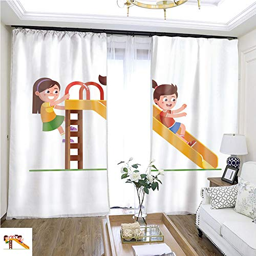 Custom Curtain Excited Preschool Girl Kid Sliding Down Slide and Happy Friend Climbing up Ladder Children Cartoon Character Flat Vector Clipart Illustration W72 x L76 Comfortable Space Curtain -