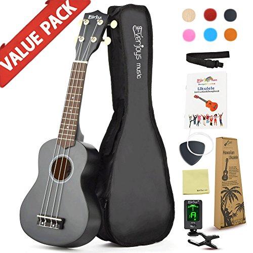 Soprano Ukulele Beginner Pack-21 Inch w/ Gig Bag Fast Learn Songbook Digital Tuner All in One Kit