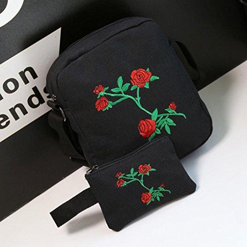Rucksack Kolylong® 1 Set Unisex Jungen Mädchen Rose Stickerei Rucksack Mode College Schultertasche für studenten Handtasche Reise Tasche Backpack Bag Schwarz jrKxI
