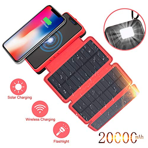 Solar Charger 20000mAh Soluser Wireless Portable Power Bank High Capacity External Battery Backup with 3 Solar Panels Emergency LED Flashlight Dual 5V/2.1A USB Ports for Smartphones