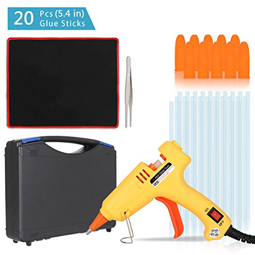 Portable High Temperature Melting Glue Gun Kit 20 Watts with 20pcs Glue Sticks for DIY Small Arts Crafts Projects and Christmas Decorations by PHY