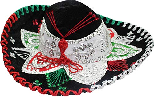 Authentic Mariachi Flowers Style Hat Fancy Premium Mexican Sombrero Charro Hats Made in Mexico (Choose Size & Color) (Child, Black/Silver Tricolor) ()
