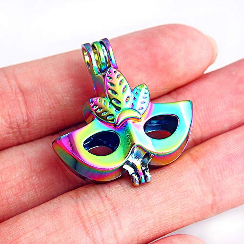 Sampler Birth Friends (5Pcs Rainbow Dance Mask Pearl Beads Cage Pendant DIY Necklace Making Craft)