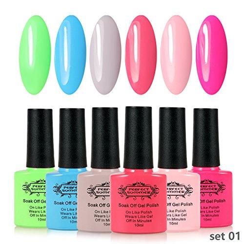 Perfect Summer UV LED Gel Nail Polish 10ml 6 PCS Kit Pastel