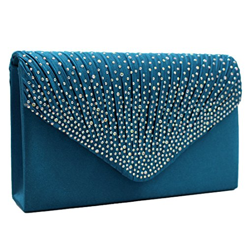 Party Luxury Shoulder Bags Green Women Satin Cocktail Evening for Envelope Bag Rhinestone Elegant Wedding Deep Clutch qqz4Ur7