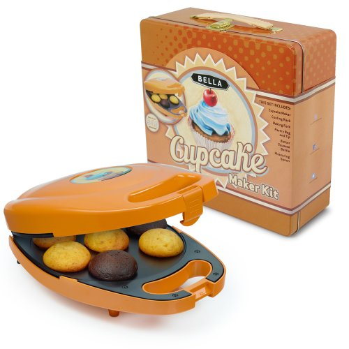 BELLA 13823 Mini Cupcake Maker Tin Box Set, Orange