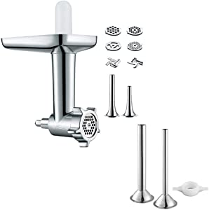 Food Meat Grinder Attachment plus Sausage Sausage Stuffer Kit for Kitchenaid Stand Mixers