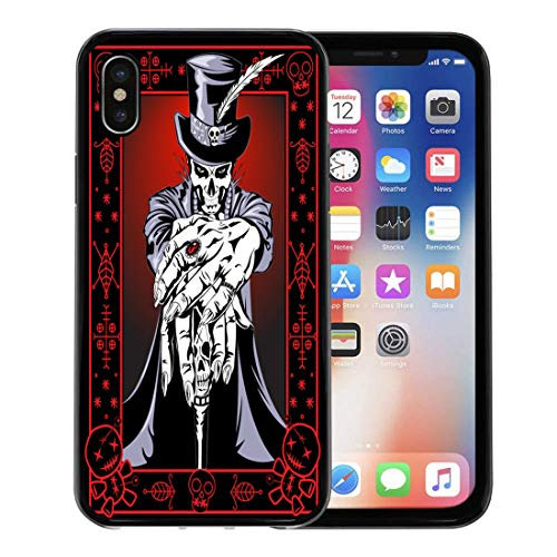 Emvency Phone Case for Apple iPhone Xs Case/iPhone X Case,Red Mask Black Skull Voodoo High Priest Purple Hat Soft Rubber Border Decorative, Black]()