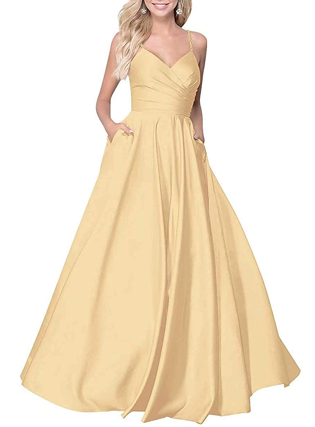 gold RTTUTED Satin ALine Long Prom Dresses for Women V Neck Formal Evening Gown with Pockets