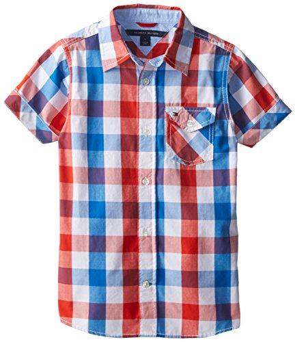 Tommy Hilfiger Little Boys' Short Sleeve Asher Shirt, Laser Beam, 6/Regular