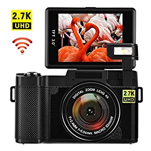Digital Camera with WiFi 24.0 MP Vlogging Camera 2.7K Ultra HD 3.0 Inch Camera with Flip Screen Retractable Flashlight