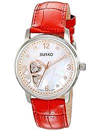 Jiusko 119MS0111 Women's 21-Jeweled Heart Skeleton Luxury Mother of Pearl Automatic Self Wind Dress Watch, Red