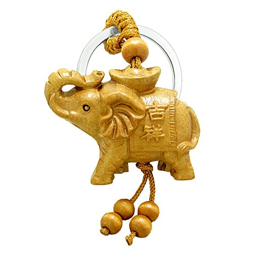 Amulet Magical Money Ingot Elephant Good Luck Charm Protection Powers Feng Shui Magical Keychain ()