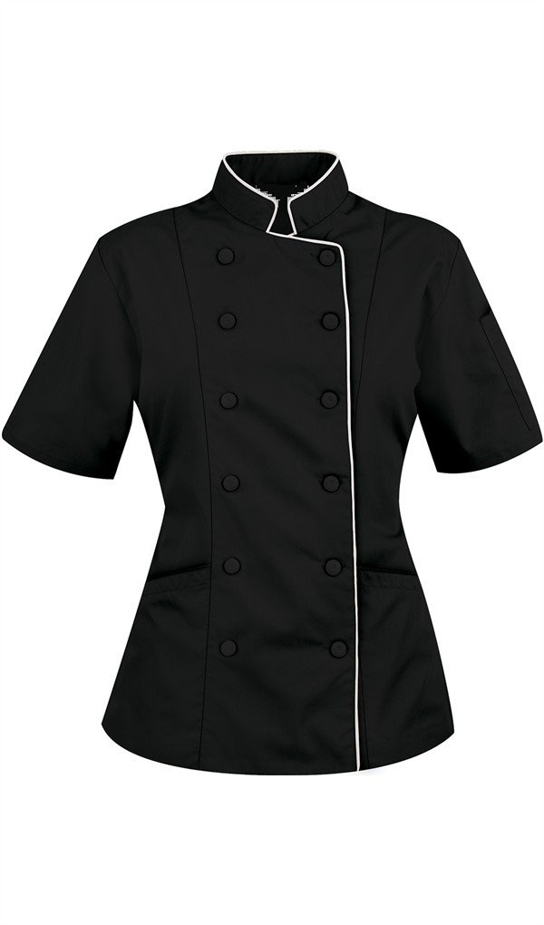 Chef Attires Short Sleeves Women's Ladies Chef's Coat Jackets by M (to Fit Bust 36-37), Black/White Trim