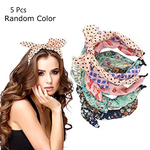 Rabbit Ears Headband Hair Decorations, Floral Polka Dot Bow Hair Bands Hair Supplies Bunny Party Hairwrap Hair Accessories for Kids Girls Women