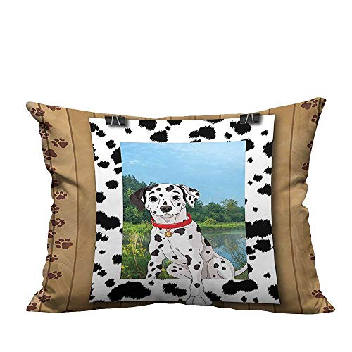 ve Throw Pillow Case Dalmatian Dog Pet Doggy Collar Puppy Paws Footprint Rustic Wooden Frame Digital Clip Ideal Decoration(Double-Sided Printing) 13x17.5 inch ()