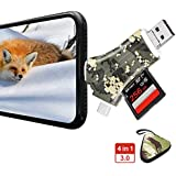 Dr. Prepare SD/Micro SD Card Reader, 4-in-1 Multi-Functional Trail Camera Viewer to View Hunting Photo or Video from Trail Camera for iPhone, iPad, Mac, Laptop, Android Device - Camouflage