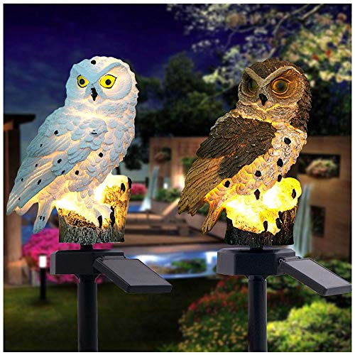 ️ Yu2d ❤️❤️ ️2PCS LED Garden Lights Solar Night Lights Owl Shape Solar-Powered Lawn Lamp