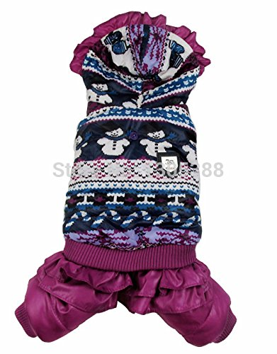(AZUDAN Dog Coats & Jackets | Purple Snowman Bubble Padded Luxury Fur Style Pet Dogs Winter Coat by Dogs Clothing)