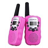 FLOUREON Walkie Talky for Kids Two Pack 22 Channel Two Way Radio 3000M (MAX 5000M Open Field) UHF Long Range Handheld (Pink)