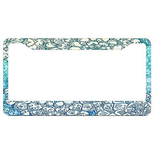Ballpoint Pen Doodle Poem License Plate Frame Aluminum Metal, Car Tag Holder,Decorative License Plate Frames 2 Holes