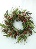 Natural looking Long & Short Needle Pine, Pinecones and Multi-Sized Rusty Bells Grapevine Wreath 22''