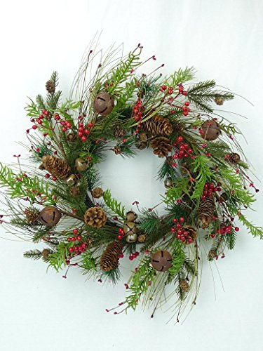 (Natural looking Long & Short Needle Pine, Pinecones and Multi-Sized Rusty Bells Grapevine Wreath)