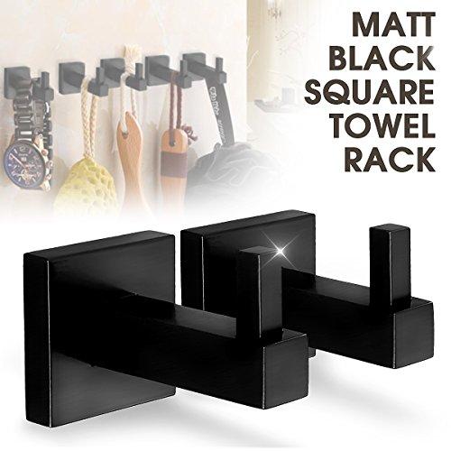 LOVELY Matte Black Stainless Steel Square Towel Rack Holder Rail Wall Mounted Tissue Roll Toilet Brush Holder Robe Hook Bathroom