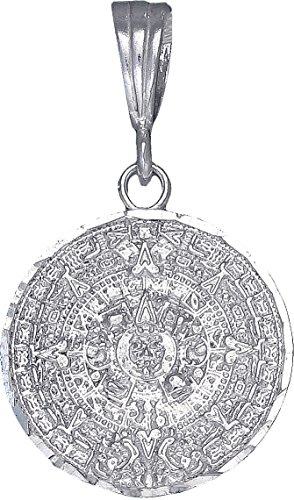 eJewelryPlus Sterling Silver Aztec Calendar Mayan Sun Charm Pendant Necklace Diamond-Cuts 20mm (Without Chain)