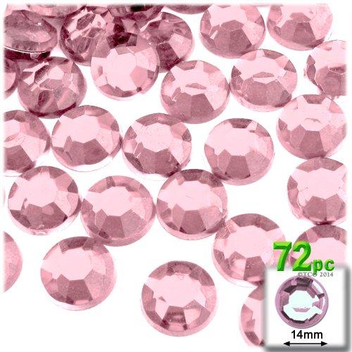 - 72pc Rhinestones Round 14mm - Flatback Light Rose Pink PNK