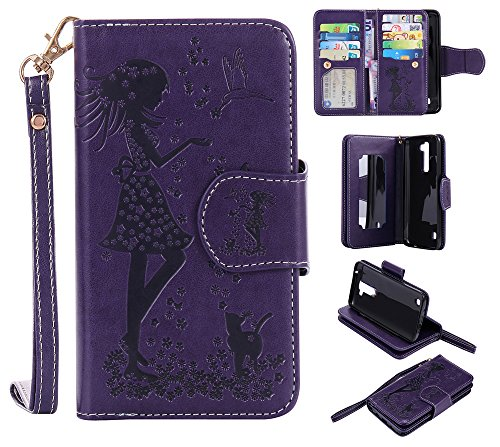 IVY K7 PU Leather Embossing Girls and Cats Wallet Case [9 Card Slot][Mirror] Flip Cover for LG K7/K8/Escape 3/Phoenix 2 - Purple