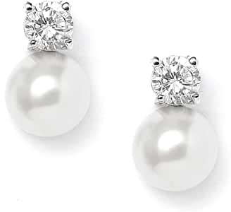 Mariell 10mm White Glass Pearl Bridal or Bridesmaids Stud Earrings with CZ Accents - Platinum Plated