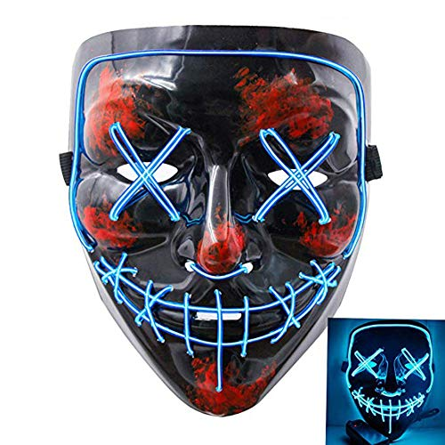 (JUNBOON Halloween Scary Mask Frightening LED Wire Light Up Masks for Cosplay Halloween Festival Party Carnival Gifts(Blue)