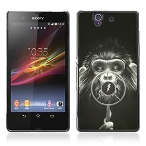 Designer Depo Hard Protection Case for Sony Xperia Z L36H / Cool Monkey Radio Art