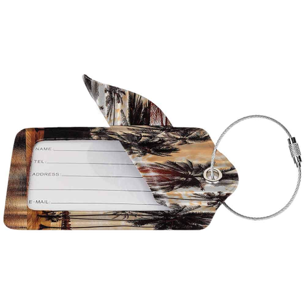 Small luggage tag Tropical Love Beach Love Bora Bora Island Palm Trees Art Print for Nature Lovers Scenery View Quickly find the suitcase Brown Orange W2.7 x L4.6