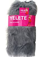 Lady's Furry Leg Warmers - Yelete Fluffy Boot Cover (Grey)