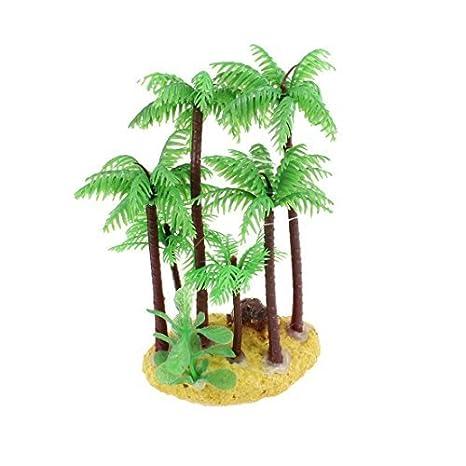 Forma DealMux pecera de coco Árbol de la planta de agua artificiales, 5 pulgadas, Verde: Amazon.es: Productos para mascotas