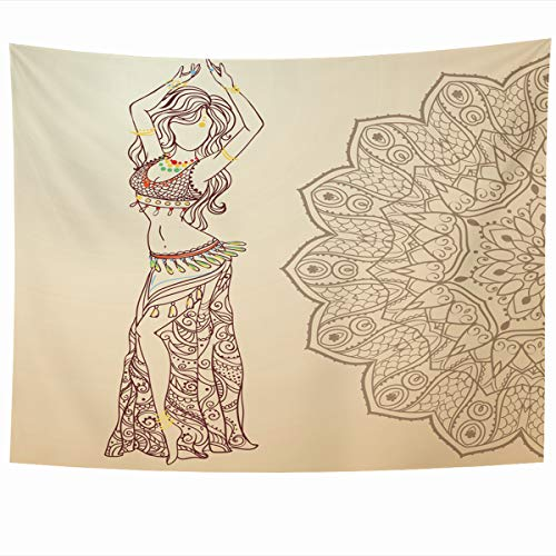 Ahawoso Tapestry Wall Hanging 80x60 Inches Necklace Red Arab Girl Belly Dance Abstract Dress Ballet Gold India Dancer Design Navel Home Decor Tapestries Art for Living Room Bedroom Dorm
