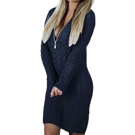 Donna Autunno Inverno Maglia Lunga Pullover Vestito Elegante Felpe Oversize  Ragazza Vestiti Linea A Swing Abito ff632459060