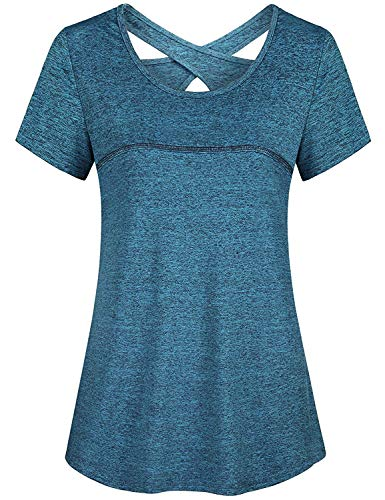 Exercise Tops for Women,Cucuchy Workout Shirts Practise Top Crew Neck Sexy Charming Crisscross Back T-Shirt Cool Dry Sweat Airy Trendy Summer Tunics Lounging Hiking Volleyball Athleisurewear Blue XL
