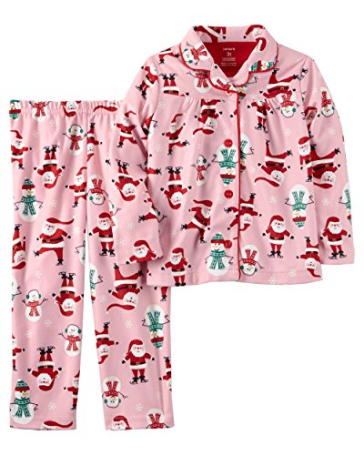 Carter's Girls' 2-Piece Microfleece Christmas PJs (5T, Pink)