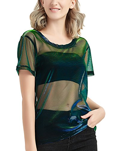 Fish Girl Fitted Shirt - Shimmer Full See Though Mesh Top T-Shirt for Women Blue Green