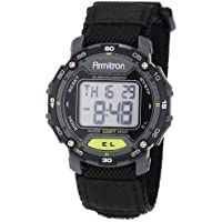 Armitron Sport Unisex 40/8291BLK Grey Accented Digital Chronograph Black Nylon Strap Watch