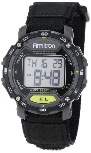 Chronograph Yellow Wrist Watch - Armitron Sport Unisex 40/8291BLK Grey Accented Digital Chronograph Black Nylon Strap Watch