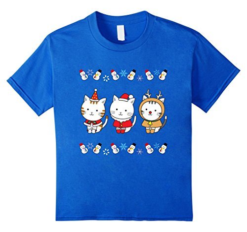 [Kids Cute Cats Christmas Outfit T-Shirt Reindeer Santa Costume 4 Royal Blue] (Childrens Santa Costume Pattern)