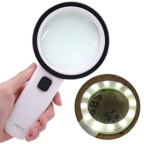 30X High Power Handheld Magnifying Glass with Led Light, Double Glass Lens Jumbo illuminated Magnifier Glasses for Reading, Soldering, Inspection, Coins, Jewelry, perfect for Macular (Illuminated Magnifying)